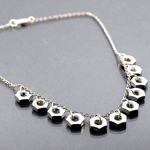 Sterling steampunk bolts necklace